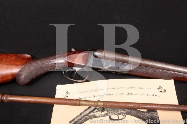 """Colt Model 1883 Hammerless 3-Digit! 30"""" SxS 12 Ga Side-By-Side Double Barrel Shotgun, 1884 Antique"""