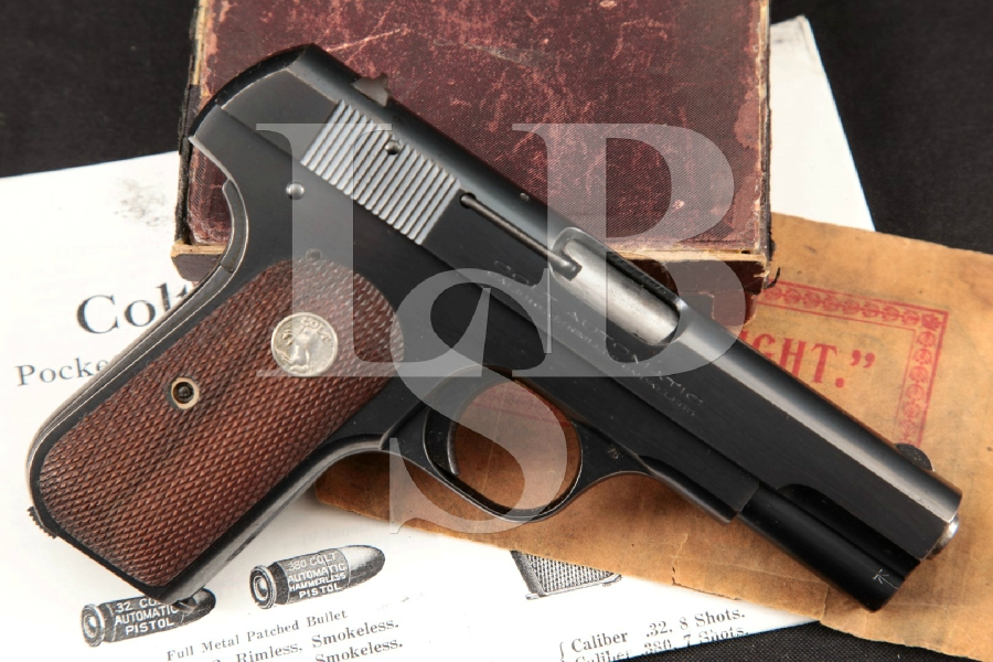 "Colt Model 1903 M1903 Type IV Pocket Hammerless, Blue 3 3/4"" Semi-Automatic Pistol, Box & More, MFD 1934 C&R"
