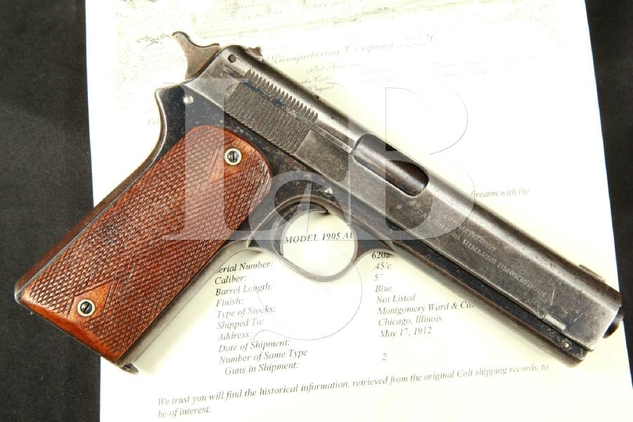 "Colt Model 1905 - THE FIRST .45 ACP! - Blue 5"" Semi-Automatic Pistol, MFD 1912 C&R (& Colt Letter) - .45 ACP"
