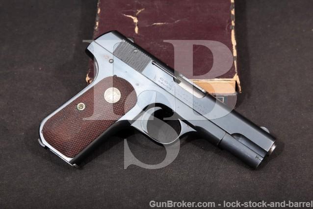 "Colt Model 1908 Type IV Pocket Hammerless .380 ACP Blued 3"" SA Semi-Automatic Pistol & Box, 1933 C&R"