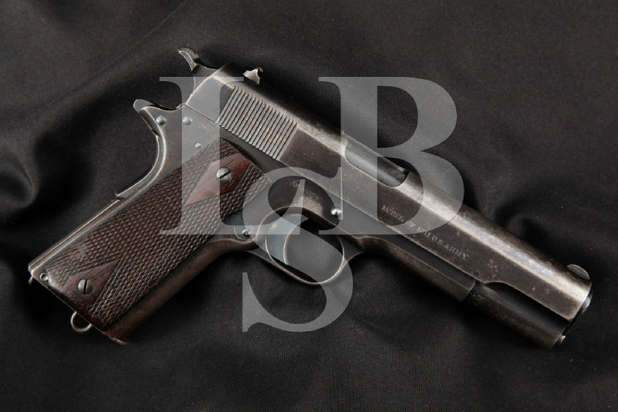 """Colt Model 1911, Pre-WWI US Army Marked, EARLY & MATCHING Blue 5"""" SA Semi-Automatic Pistol, MFD 1914 C&R"""