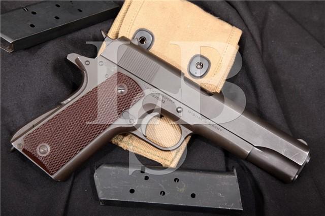 "Colt Model 1911A1 1911-A1 U.S. Marked .45 ACP Parkerized 5"" Semi-Automatic Pistol & Mags 1943"
