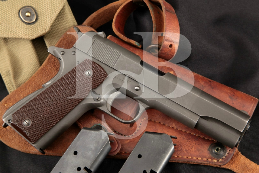 "Colt Model 1911A1 1911-A1, WWII U.S. Marked, Parkerized 5"" Semi-Automatic Pistol, Mags & Holster MFD 1942 C&R"
