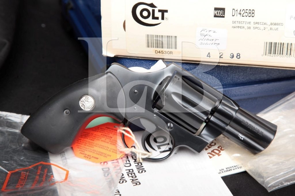"Colt Model Bobbed Detective Special 4th Issue D1425bb, Blue 2"" Double Action Only Revolver, Box & Paperwork, MFD 1994-1995 .38 Special"