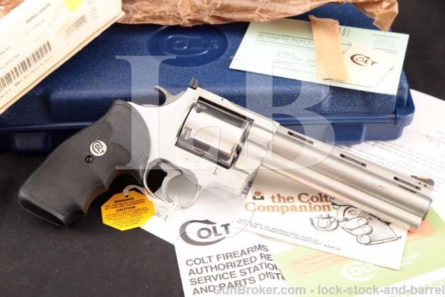 """Colt Model Kodiak, Stainless 6"""" 44 Magnum mag Revolver, Unfluted Cylinder, Ported & Box, 1993"""