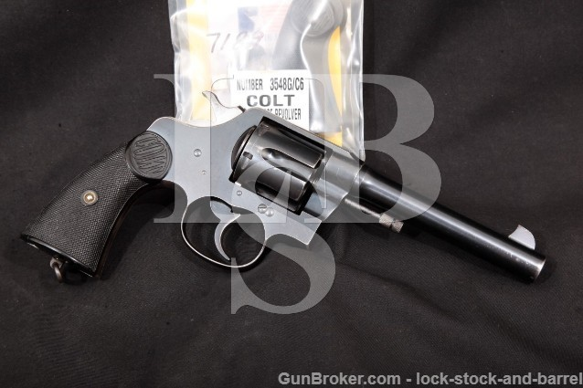 "Colt New Service Canadian RNWMP Marked Blue 5 1/2"" Double Action Revolver & Grips, 1917 C&R .45 Colt"