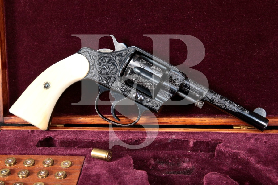 """Colt Police Positive Model, Factory Engraved & Inscribed, Blue 4"""" Double Action Revolver & Case, MFD Ca. 1907 C&R"""