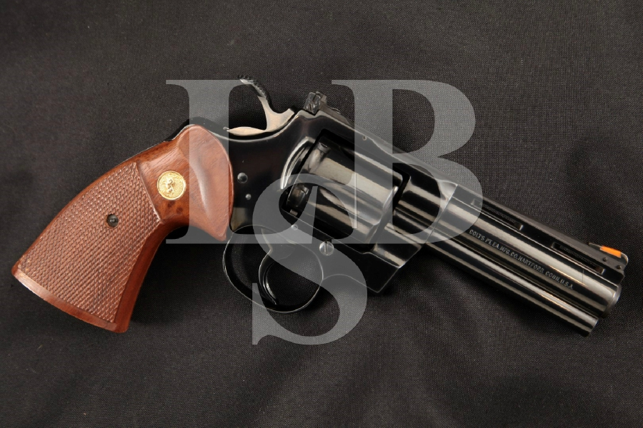 "Colt Python .357 Magnum Model (No CA Sales), Blue 4"" 6-Shot DA/SA Double Action Revolver, MFD 1979"