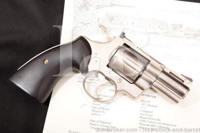 "Colt Python Guard Electroless Nickel 2 1/2"" .357 SA/DA Double Action Revolver & Letter, 1982"