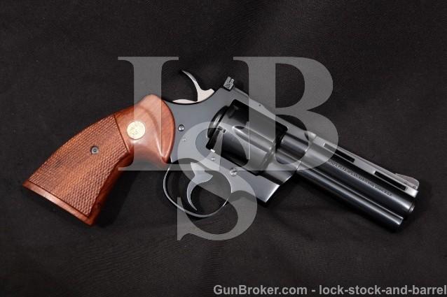"""Colt Python I3640, Blue 4"""" Vent-Rib Full Lug 6-Shot SA/DA Double Action Revolver, 1977 .357 Mag"""