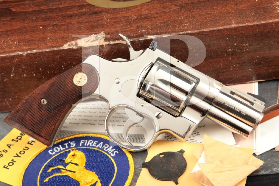 "Colt Python Model 3621, Factory Snub-Nose Nickel 2 1/2"" Double Action Revolver & Box MFD 1974, No CA Sales"