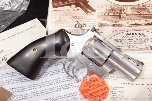 "Colt Python Model I3020, Stainless 2 1/2"" .357 Mag SA/DA Double Action Revolver Box & Letter MFD 1992"
