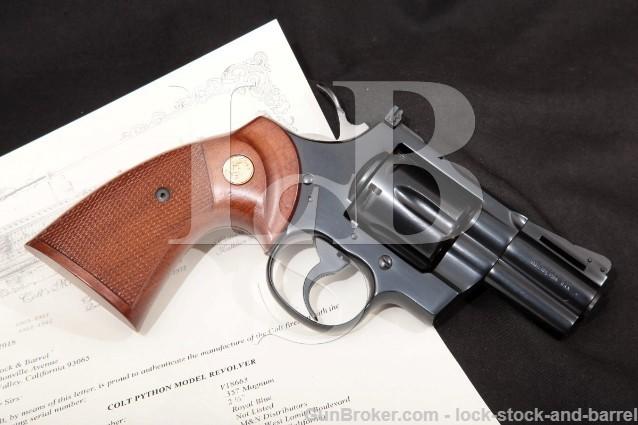 "Colt Python Model I3620, Blue 2 1/2"" .357 Magnum 6-Shot SA/DA Double Action Revolver & Letter, 1978"