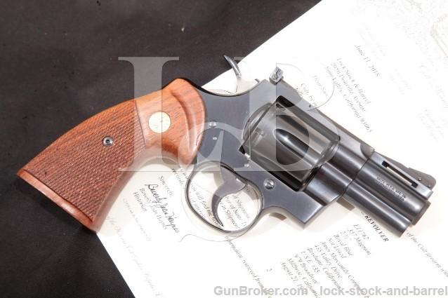 "Colt Python Model I3620, Blue 2 1/2"" .357 Magnum SA/DA Double Action Revolver & Letter, MFD 1970"