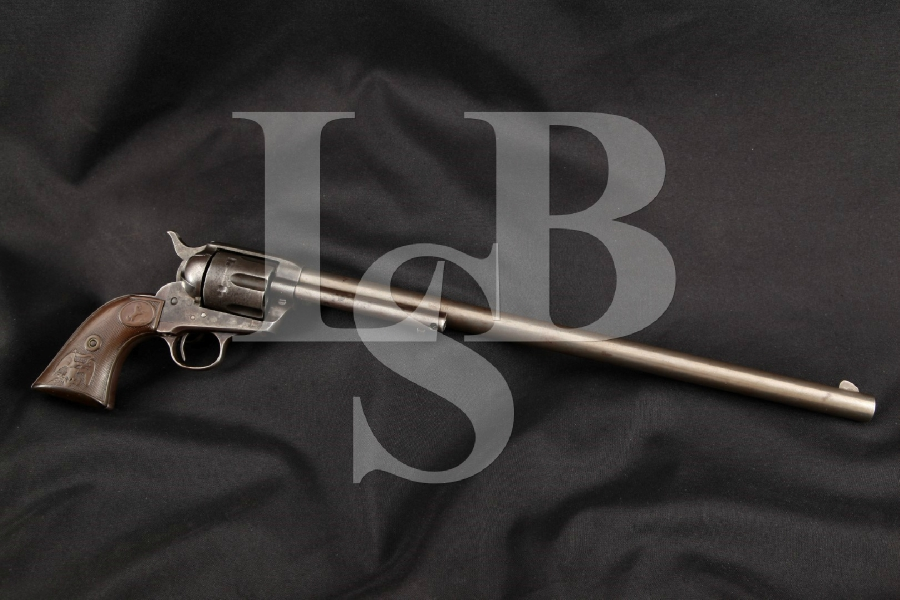 "Colt S.A.A. SAA 1st Generation Smokeless Buntline & Saddle Ring, Blue & Case Colored 16"" Custom Single Action Army Revolver, MFD 1912 C&R"
