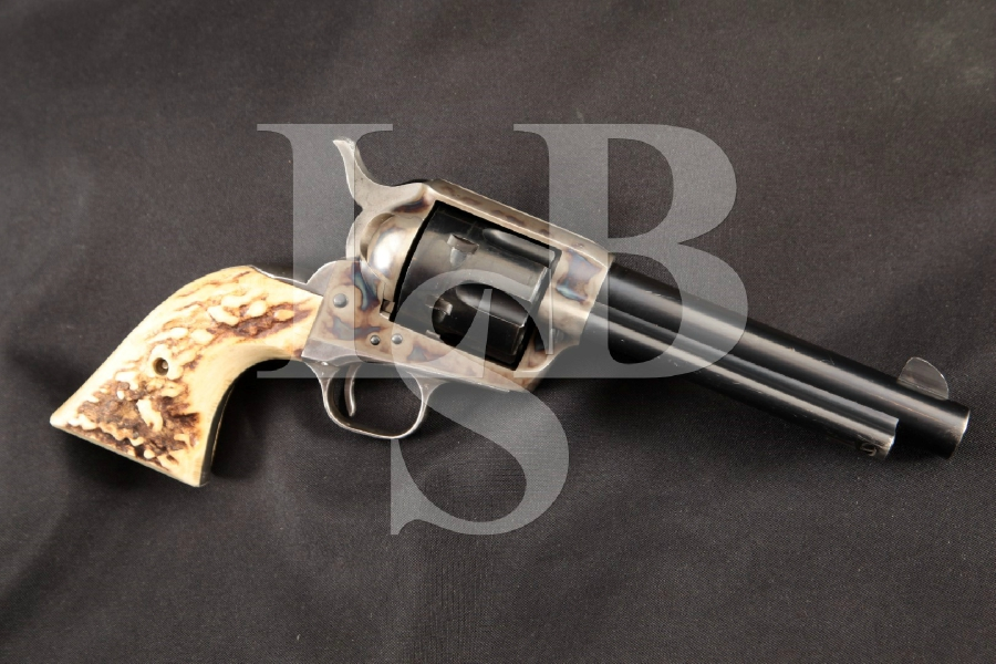 "Colt S.A.A. SAA Smokeless 2nd Generation + Horn Grips, Blue, Case Colored & Silver Plated 5 1/2"" 6-Shot Single Action Army Revolver, MFD 1959 C&R"