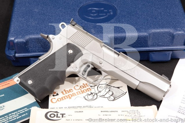 "Colt Series 80 MKIV Gold Cup National Match 45 ACP Stainless 5"" Semi-Auto Pistol & Box 1994 ATF C&R"