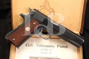 Colt Super .38 Automatic 1911 A1 1911-A1 Government Model Pistol & Box, 1950 C&R