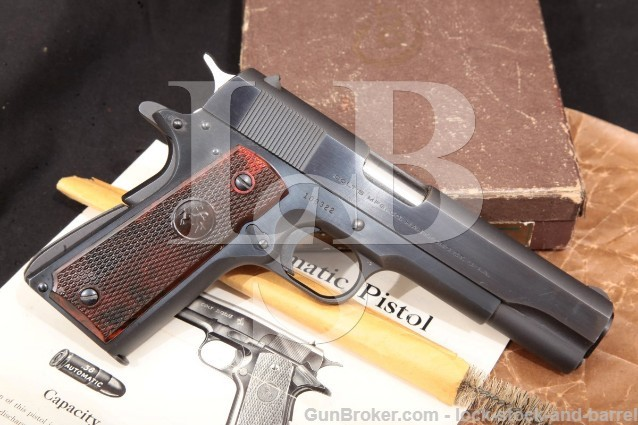 "Colt Super .38 Automatic 3rd Model 1911A1 1911-A1 5"" SA Semi-Automatic Pistol & Box, MFD 1953 C&R"