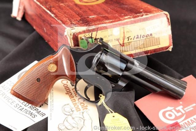 "Colt Trooper MK III Mark 3 Blue 4"" .22 WMRF Magnum 22 Mag Double Action Revolver & Box, MFD 1980"