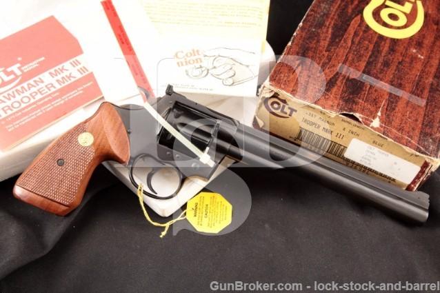 """Colt Trooper MK III Mark 3 Blue 8"""" .357 Magnum SA/DA Double Action Revolver & Box, MFD 1980's"""
