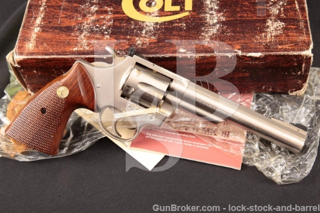 "Colt Trooper MK III eNickel Electroless Nickel 6"" .357 mag Double Action Revolver & Box, Ca. 1980"
