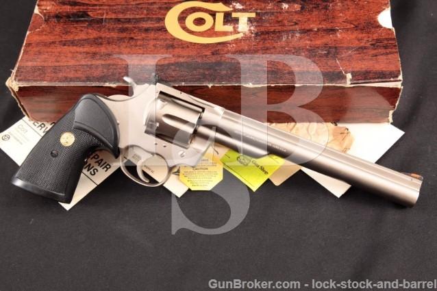 Colt Trooper MK III eNickel Electroless Nickel 8 .22 LR Double Action Revolver & Box, MFD Ca. 1980