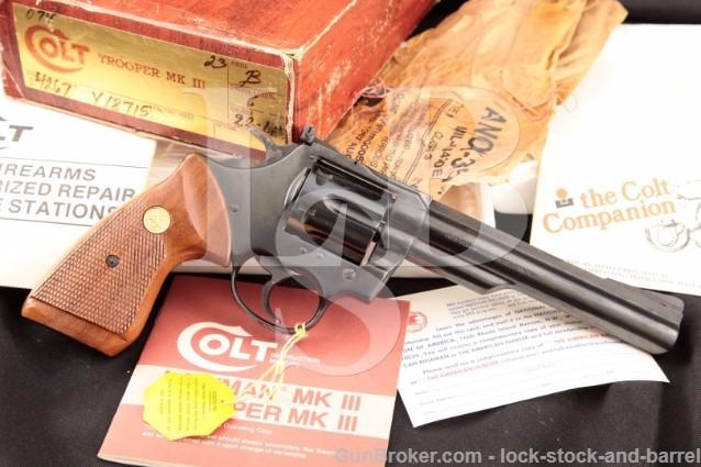 "Colt Trooper MKIII Mark 3 Blue 6"" 22 Long Rifle LR Rimfire Double Action Revolver & Box, MFD 1980's"