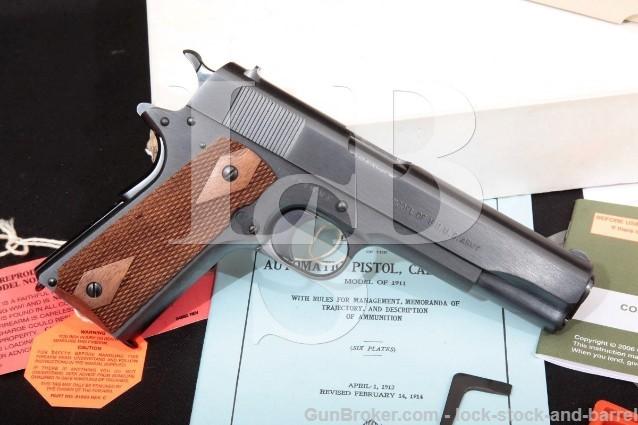 "Colt WMK Model Of 1911 U.S. Army 01911 5"" .45 ACP SA Semi Automatic Pistol, Box & More! MFD 2007"