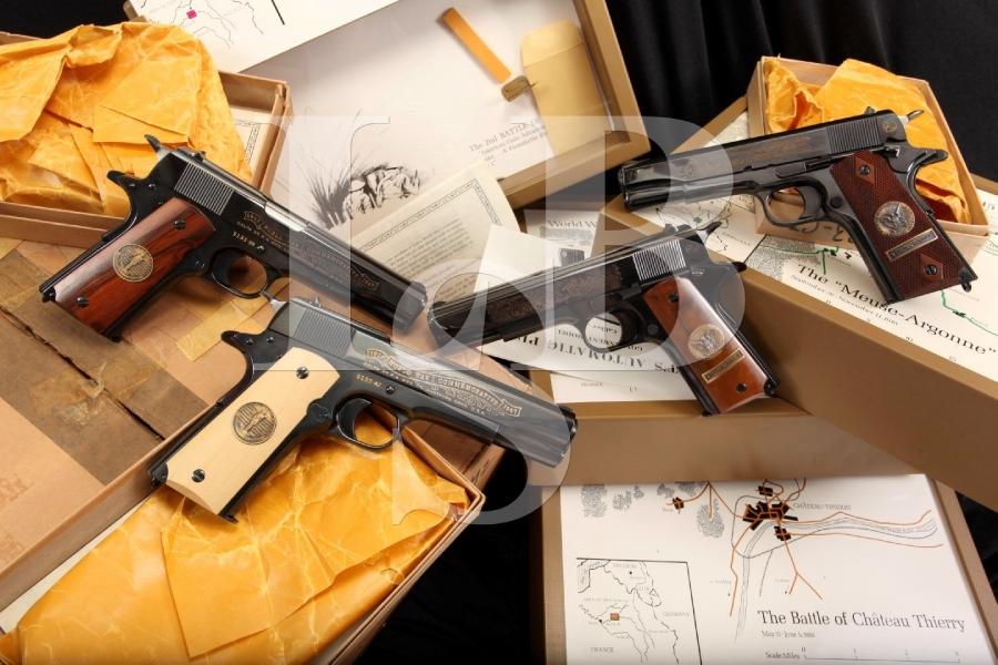 Colt WWI 1911 Commemorative Set of 4 Semi Auto Pistols & Display Cases - C&R OK
