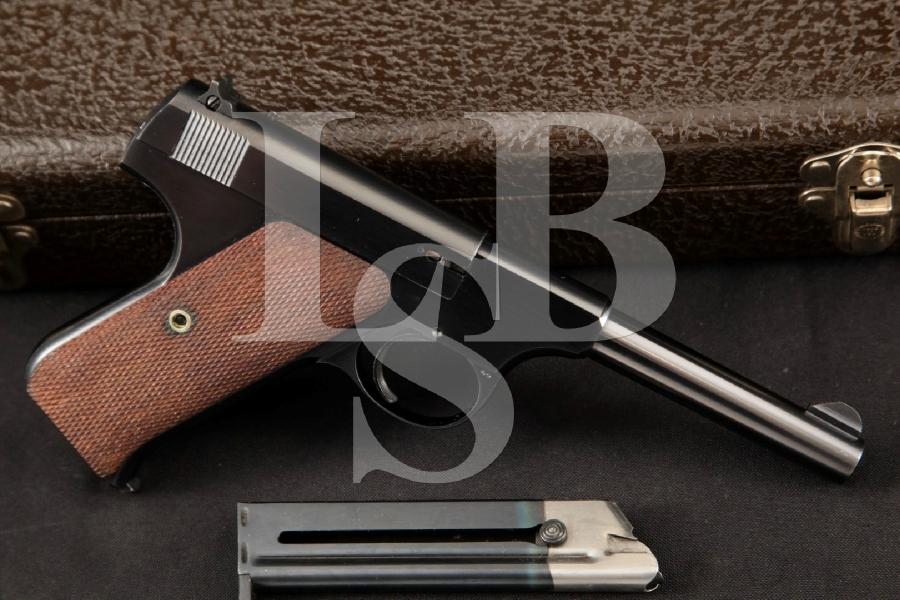 "Colt Woodsman Sport Model 1st Series, Sharp Blue 4 1/2"" Semi-Automatic Pistol, Case & 2 Mags, MFD 1941 C&R"