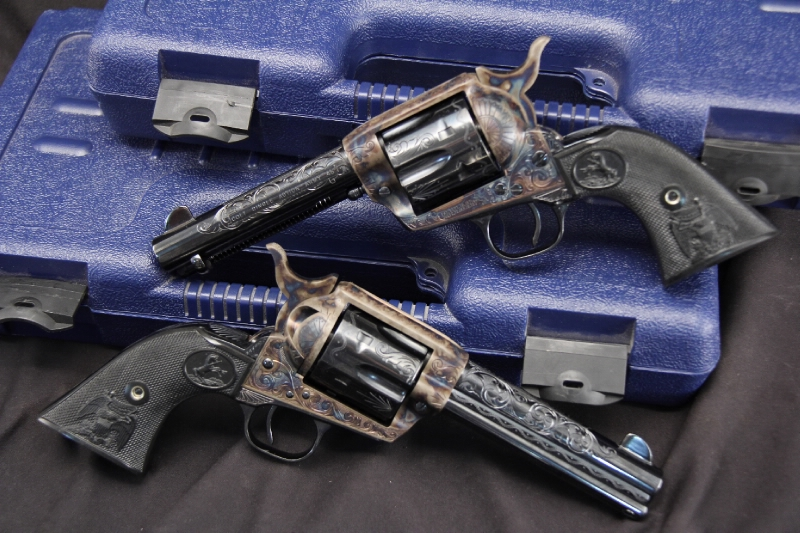 Consecutive Serial Number Pair of Engraved Colt Single Action Army Revolvers SAA's