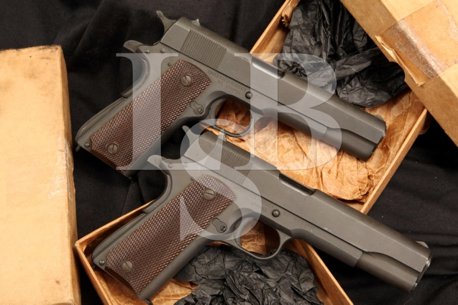 Consecutive Serial Numbered Remington Rand 1911A1 Semi Auto Pistols & Boxes 1944 Mint