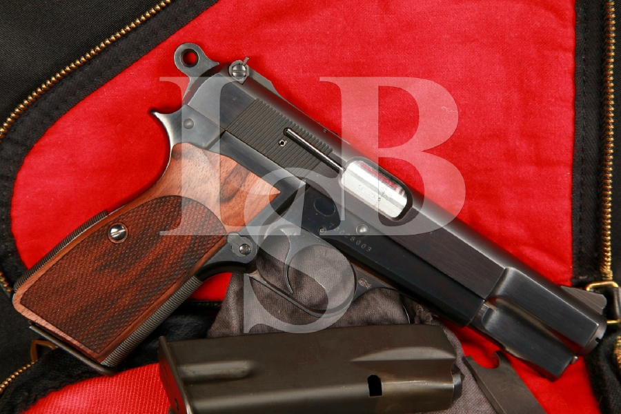 Custom (Jim Hoag) Belgian Browning Hi-Power 9mm SA Semi-Automatic Pistol, Nill Grips & Extras