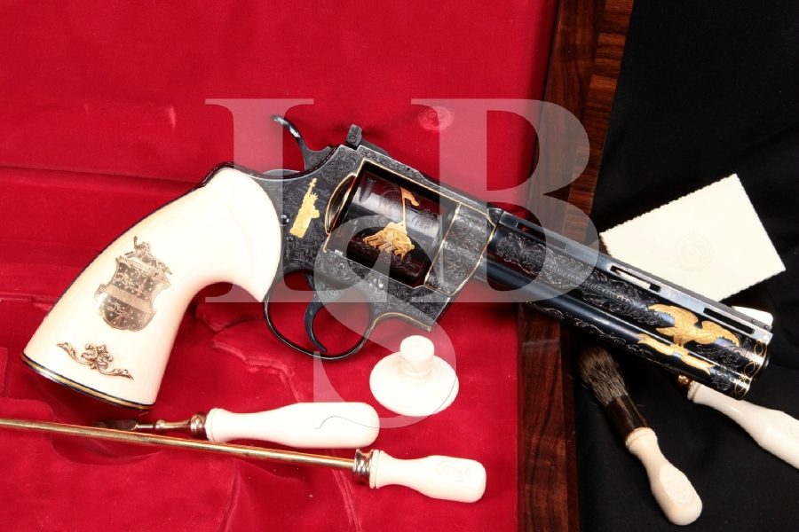 "DOCUMENTED Howard Dove Engraved Colt Python, Blue & Gold Inlaid 6"" Double Action Revolver & Case, MFD 1978 -- WOW"