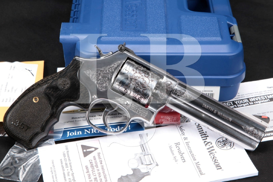 """DOCUMENTED Kenny Majors Engraved Smith & Wesson S&W Model 686-6 Plus, Polished Stainless 5"""" 7-Shot Double Action Revolver & Case, MFD 2014"""