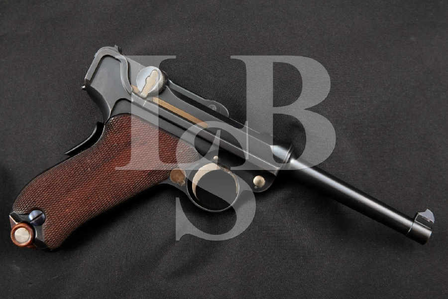 """DWM Model 1900 Swiss Military Contract Luger, Dished Toggles, V Rear Sight, Very Sharp Blue 4.75"""" SA Semi-Automatic Pistol, MFD 1901-1902 C&R"""