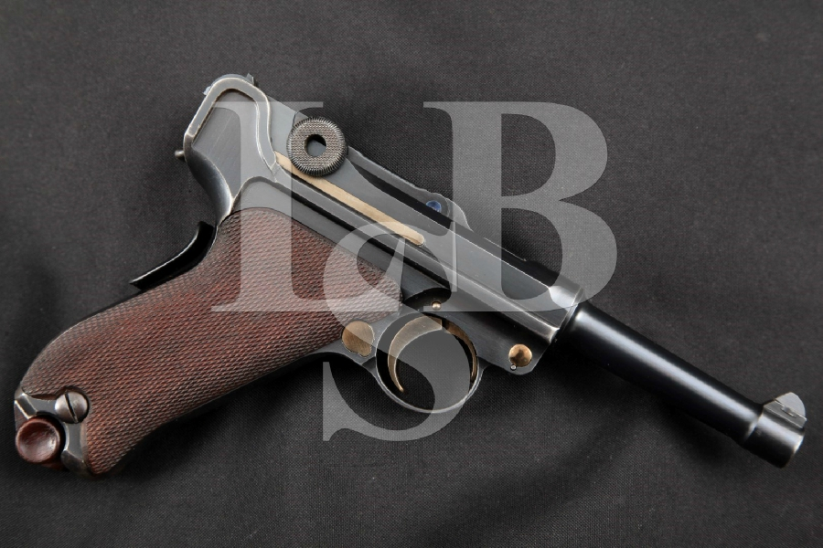 "DWM Model 1906 Portuguese Naval Luger, Matching Numbers, Blue & Straw Finished 4"" RARE Pre-WWI SA Semi-Automatic Pistol MFD 1910 C&R"
