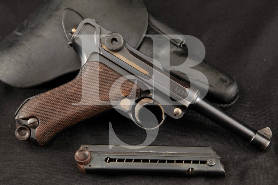 "DWM Model 1914 Military P.08 Luger, + 2 Magazines & Holster, Blue 4"" WWI SA Semi-Automatic Pistol, MFD 1915 C&R"