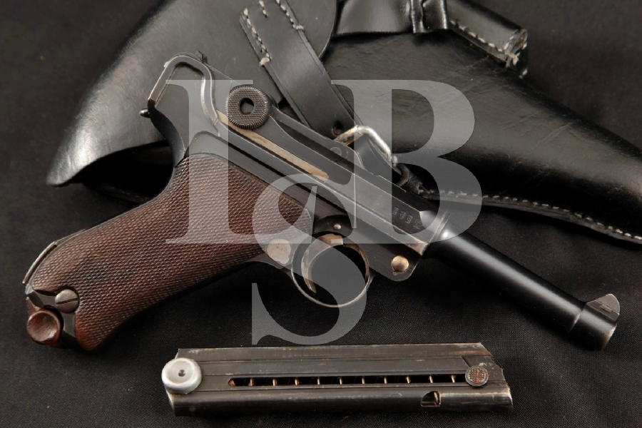 "DWM Model 1914 Military P.08 Luger, Export Marked, Blue 4"" WWI Semi-Automatic Pistol & Holster, MFD 1916 C&R"