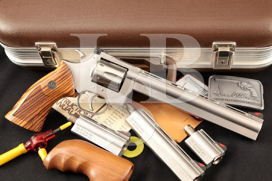 "Dan Wesson Arms of Monson, Mass. Model 715-VH, Satin Stainless Steel 8"" 6-Shot Revolver, 4 Barrels, Case & More MFD 1982"