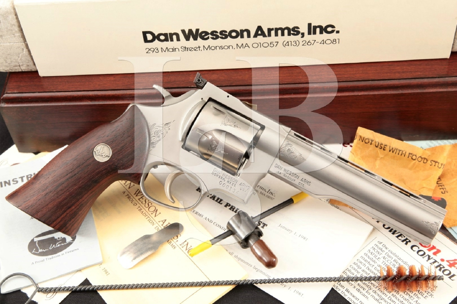 """Dan Wesson Model 44V, 1 of 250 Special Introductory Edition, Dove Gray 6"""" 6-Shot, Double Action Revolver & Case, MFD 1981"""