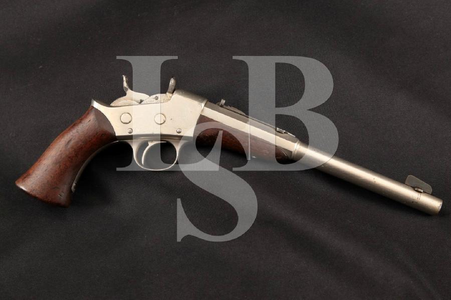 "E. Remingon & Sons 1891 Rolling Block Target Model, Rare Nickel Half-Octagonal 10"" Single Shot Rimfire Pistol, MFD 1892-1898 Antique"