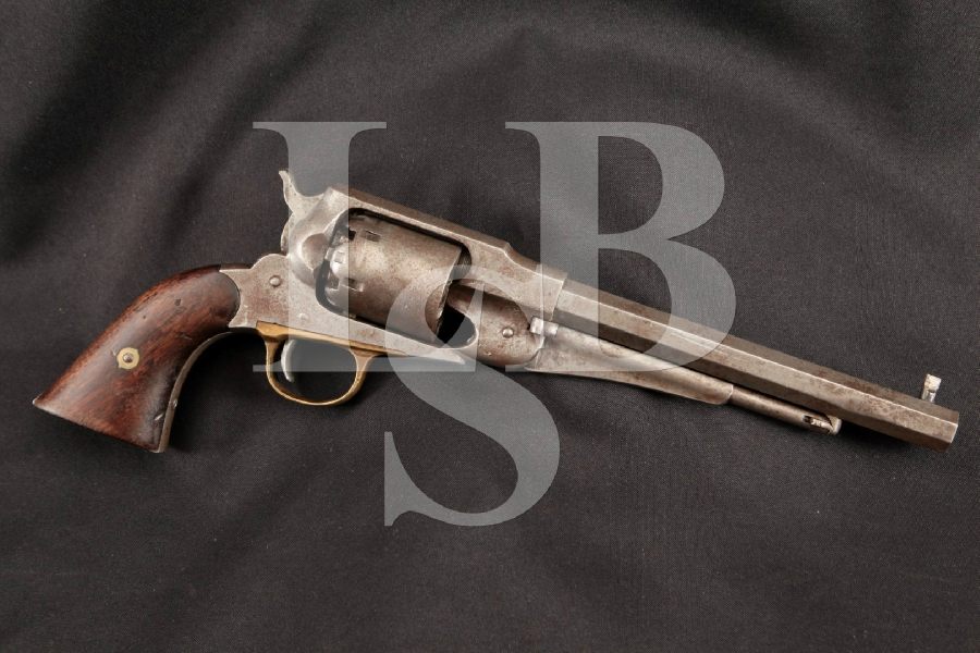 "E. Remington & Sons 1858 (1861) New Model Army, Indian War Era Inspector Marked, Octagonal Blue 8"" 6-Shot SA Single Action Pistol, MFD 1870 Antique"