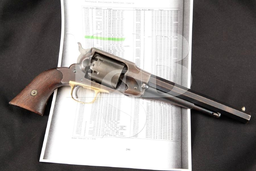 "E. Remington & Sons Standard New Model Army, Inspector Marked 1st Year, Blue & Brass 8"" 6-Shot Civil War Era SA Revolver, MFD 1863 Antique"