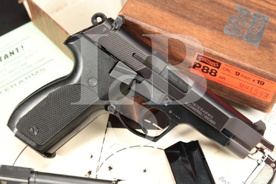 """Early Interarms Imported Walther Model P88 P-88, Blue Steel & Black Alloy 4"""" DA/SA Semi-Automatic Pistol, Box & , MFD 1987"""