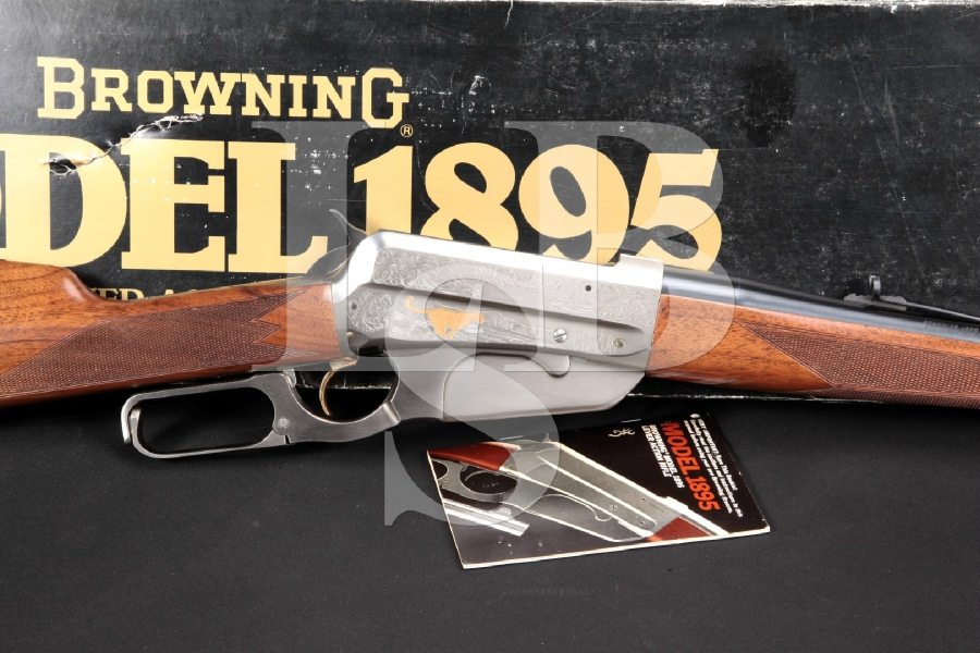 """Engraved 2nd Gen. High Grade Browning Model 1895, Blue, Stainless & Gold 24"""" Lever Action Rifle & Factory Box, MFD 1984"""