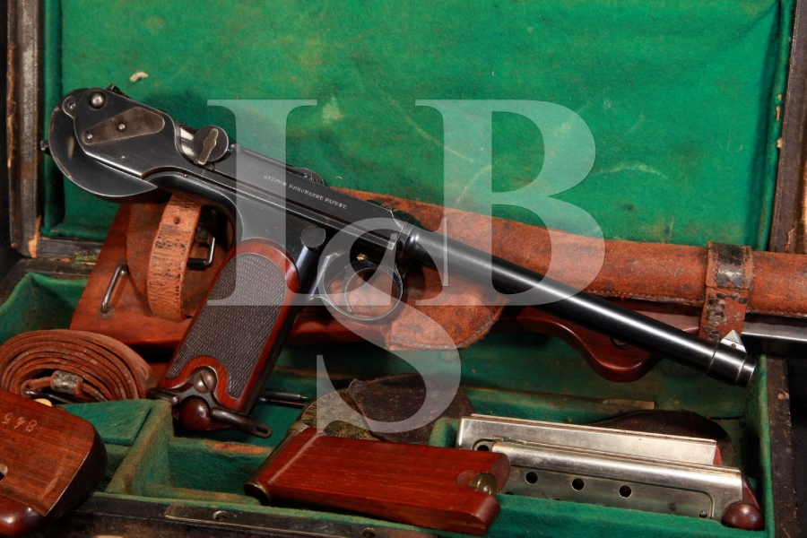 Factory Cased Loewe Production Borchardt Model 1893 C93 Semi-Automatic Pistol Serial Number 845 Shoulder Stock, 3 Mags & Antique - WOW