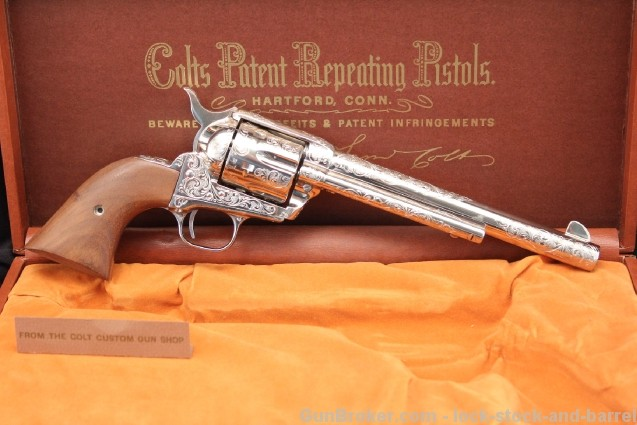 Factory Engraved .45 Colt Single Action Army New in Box, Nickel 1873 Peacemaker, Colt Custom Shop Gun, New!