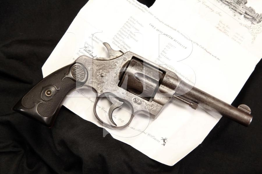Factory Engraved Colt .41 Caliber 'Army Special' DA Revolver & Letter, MFD 1910 C&R